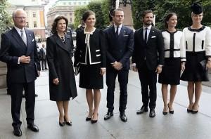 Kungafamiljen på riksmötets öppnande.