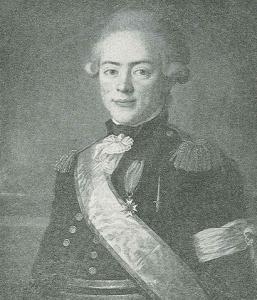 Porträtt av Måns von Rosenstein med sina svenska och franska utmärkelser.